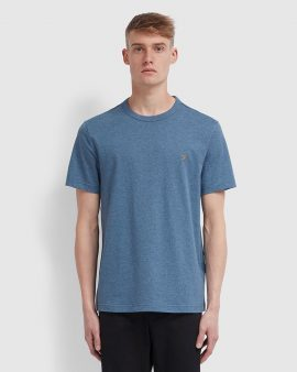 Farah Danny Slim Fit Organic Cotton T-Shirt Denim Marl