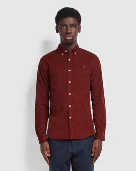 Farah Fontella Slim Fit Cord Shirt Burgundy