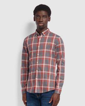 Farah Steen Slim Fit Brushed Cotton Check Shirt Russet
