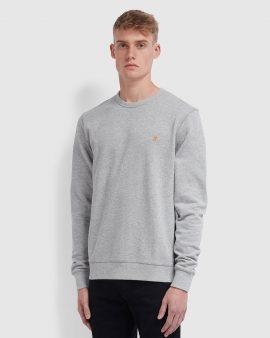 Farah Tim Cotton Crew Neck Sweatshirt Lt Grey