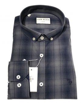 Tom Penn 517 Check Slim Fit Shirt Grey