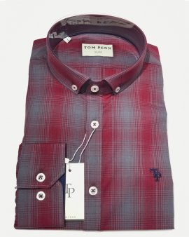 Tom Penn 518 Check Slim Fit Shirt Burgundy