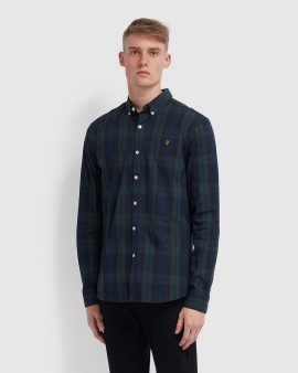 Farah Brewer Slim Fit Tartan Oxford Shirt Gill Green