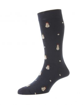 HJ Hall Snowman Cotton Rich Socks Snow