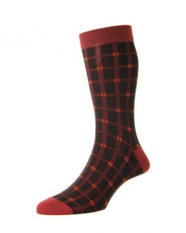 HJ Hall Bamboo Windowpane Luxury Socks Black