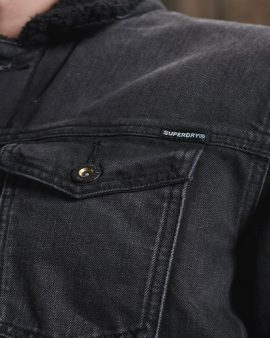 Superdry Highwayman Sherpa Trucker Jacket Black