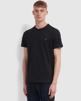 Farah Danny Slim Fit Organic Cotton T-Shirt In Black