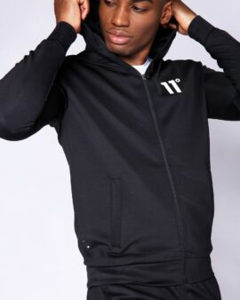 Core Full Zip Poly Track Top With Hood – Black
