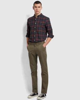Farah Brewer Slim Fit Check Organic Cotton Oxford Shirt In Farah Red