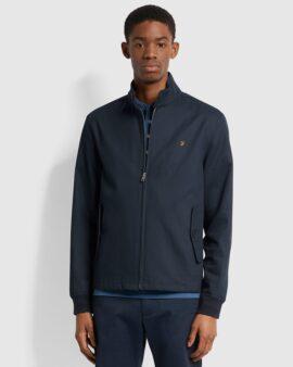 Farah Hardy Organic Cotton Harrington Jacket In True Navy