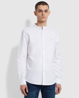 Farah Brewer Slim Fit Grandad Organic Cotton Oxford Shirt