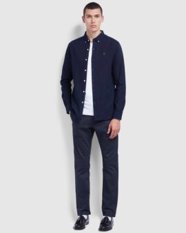 Farah Brewer Slim Fit Indigo Oxford Shirt In Mid Indigo