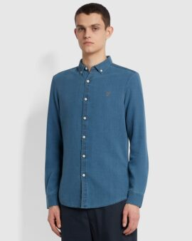 Farah Brewer Slim Fit Oxford Shirt In Stone wash