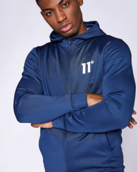 Core Full Zip Poly Track Top With Hood – Insignia Blue