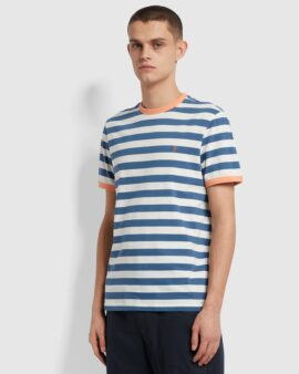 Farah Belgrove Slim Fit Striped T-Shirt In Cold Metal