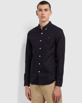 Brewer Slim Fit Organic Cotton Oxford Shirt In Navy