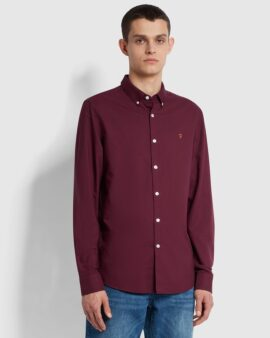 Farah Brewer Slim Fit Organic Cotton Oxford Shirt In Bordeaux