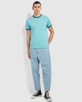 Groves Slim Fit Organic Cotton Ringer T-Shirt In Reef Green