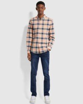 Farah Brewer Slim Fit Check Organic Cotton Oxford Shirt In Peach Solstice