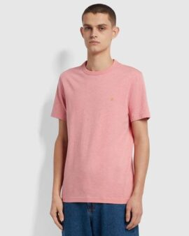 Danny Slim Fit Organic Cotton T-Shirt In Palisade Pink Marl